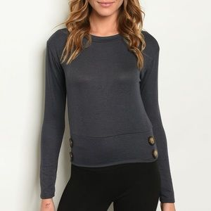Charcoal long sleeve button detail knit top